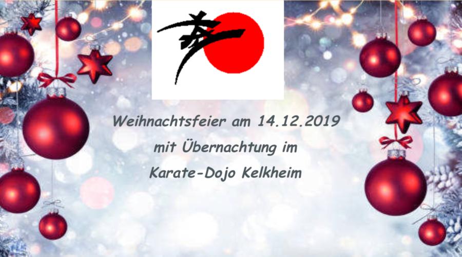 Weihnachtsfeier am 14.12.2019 mit Übernachtung im Karate-Dojo Kelkheim